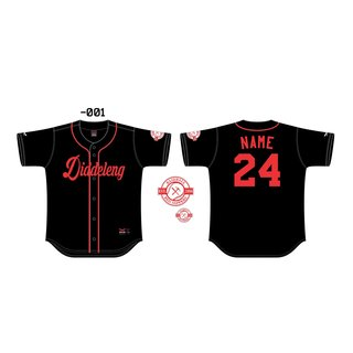 Red Sappers Full Button Baseball Jersey Black mit Spielername